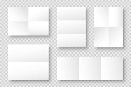 Blank folded paper sheets collection. White notebook or book page. Design template or mockup. Vector illustration.