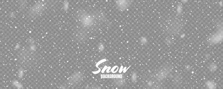 Realistic falling snow with snowflakes. Winter transparent background for Christmas or New Year card. Frost storm effect. Vector illustration. Ilustração Vetorial