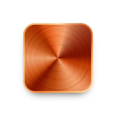Realistic square metal chrome button. Steel volume control knob. Application interface design element. App icon. Vector illustration. Illusztráció