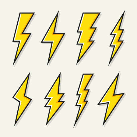Yellow lightning bolt icons collection. Flash symbol, thunderbolt. Simple lightning strike sign. Vector illustration.