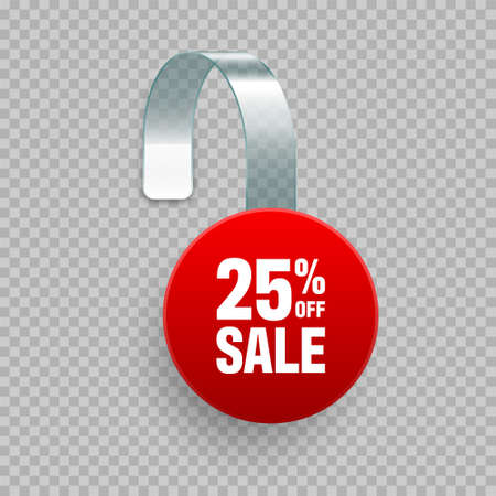 Supermarket promotional wobbler with ad text. Realistic vector template for shelf advertising. Sale or discount label. Special offer price tag.