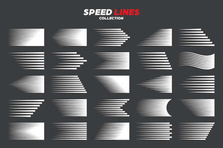 Comic speed motion lines collection. Vector illustration.