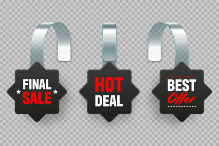 Supermarket promotional wobblers with ad text. Realistic vector wobbler template for shelf advertising. Sale or discount label. Special offer price tag.