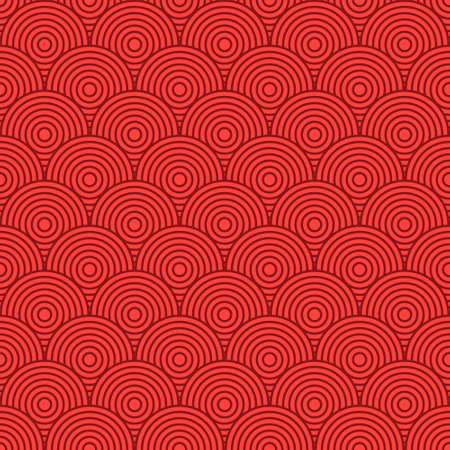 Japanese seamless round pattern. Traditional Chinese texture. Oriental New Year background. Vector illustration.