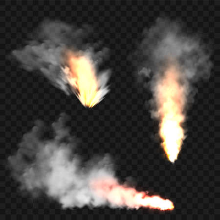 Realistic smoke clouds and fire. Flame blast, explosion. Stream of smoke from burning objects. Forest fires. Transparent fog effect. White steam, mist. Vector design element. 矢量图像