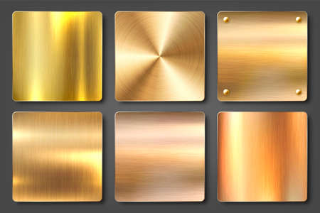 Realistic brushed metal textures set. Polished stainless steel background. Vector illustration.