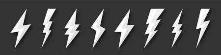 Lightning bolt icons collection. Flash symbol, thunderbolt. Simple lightning strike sign. Vector illustration.