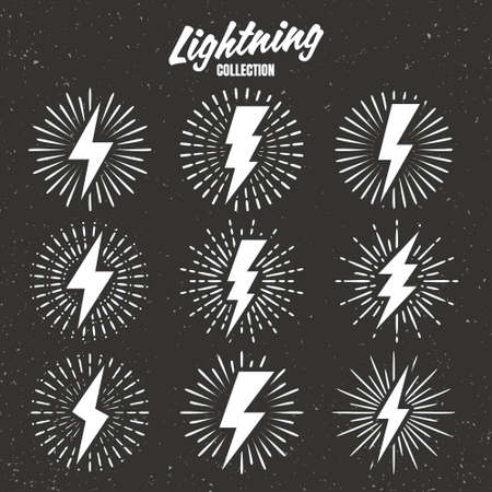 Set of vintage lightning bolts and sunrays on grunge background. Lightnings with sunburst effect. Thunderbolt, electric shock sign. Vector illustration.