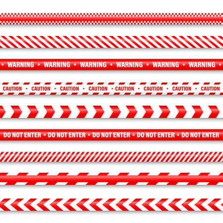 Realistic red barricade tape. Police warning line. Danger or hazard stripe. Under construction sign. Vector illustration. 矢量图像