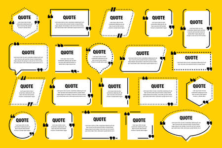 White isolated quote frames. Speech bubbles with quotation marks. Blank text box and quotes. Blog post template. Vector illustration.