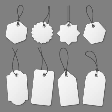 Realistic white price tags collection. Special offer or shopping discount label. Retail paper sticker. Promotional sale badge. Vector illustration. 矢量图像