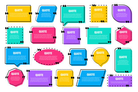 Set of colorful isolated quote frames. Speech bubbles with quotation marks. Blank text box and quotes. Blog post template. Vector illustration. 矢量图像
