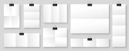 Blank folded paper sheets with binder clips. White notebook or book page and metal holder. Design template or mockup. Vector illustration.
