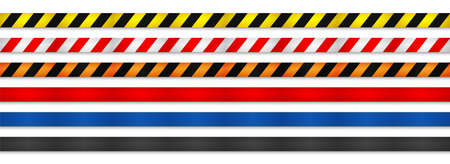 Realistic retractable caution belt. Crowd control strap barrier. Queue lines. Restriction border and danger tape.
