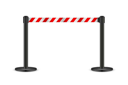 Realistic vector retractable belt stanchion. Crowd control barrier posts with caution strap. Queue lines. Restriction border and danger tape. 矢量图像