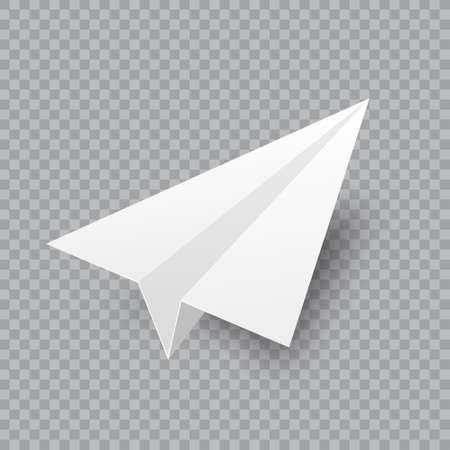 Realistic handmade paper plane on transparent background. Origami aircraft in flat style. Vector illustration. 矢量图像