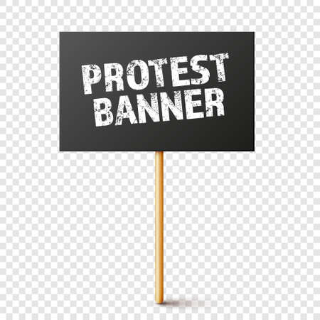 Blank black protest sign with wooden holder. Realistic vector demonstration banner. Strike action cardboard placard mockup. 矢量图像