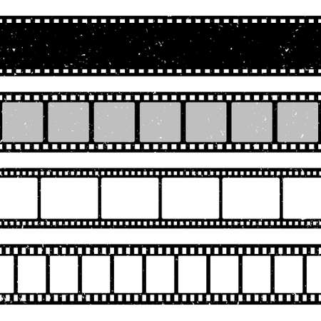 Grunge film strips collection. Old retro cinema movie strip. Video recording. Vector illustration.