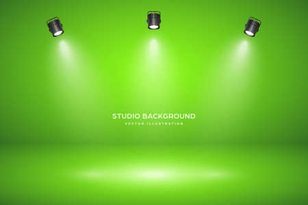 Empty green studio abstract background with spotlight effect. Product showcase backdrop. Chroma key compositing. 矢量图像