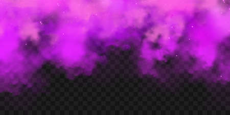 Realistic purple colorful smoke clouds, mist effect. Fog isolated on transparent background. Vapor in air, steam flow. Vector illustration.