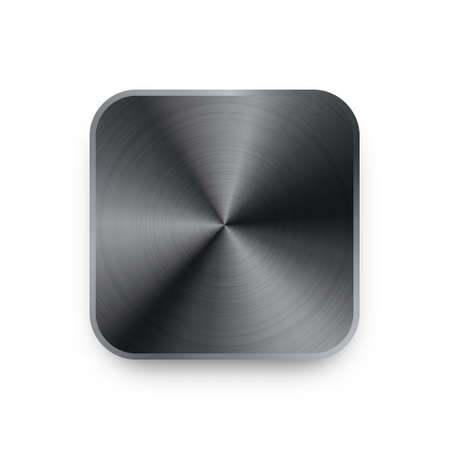 Realistic square metal chrome button. Steel volume control knob. Application interface design element. App icon. Vector illustration. 矢量图像
