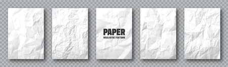 Realistic white crumpled paper texture. Rough grunge old blank. Torn edges. Vector illustration.