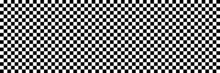 Long checkered geometric background with black and white tile. Chess board. Racing flag pattern, texture. Vector illustration.