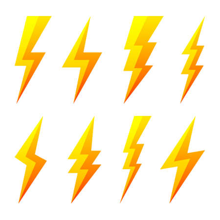 Yellow lightning bolt icons isolated on white background. Flash symbol, thunderbolt. Simple lightning strike sign. Vector illustration. 矢量图像