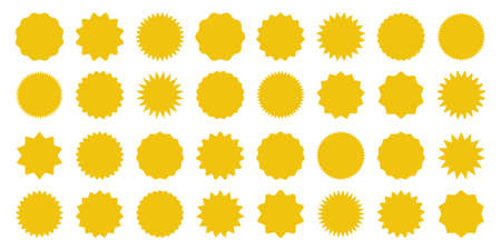 Yellow shopping labels collection. Sale or discount sticker. Special offer price tag. Supermarket promotional badge. Vector sunburst icon.