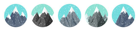 Set of snowy mountains in flat style. Winter rocky mountain landscape. Outdoor travel and tourism, hiking. Climbing on mountain peak. Vector illustration.