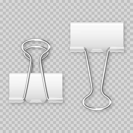 Realistic white paper binder isolated on transparent background. Paper clip, holder. Design mockup. Vector illustration.