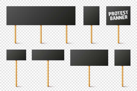 Blank black protest signs with wooden holder. Realistic vector demonstration banner. Strike action cardboard placard mockup. 矢量图像