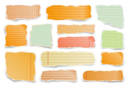 Ripped colorful paper strips. Realistic crumpled paper scraps with torn edges. Lined shreds of notebook pages. Vector illustration. 矢量图像