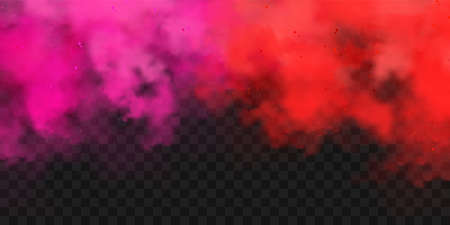 Realistic red and pink colorful smoke clouds, mist effect. Fog isolated on transparent background. Vapor in air, steam flow. Vector illustration.