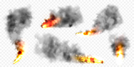 Realistic black smoke clouds and fire. Flame blast, explosion. Stream of smoke from burning objects. Forest fires. Transparent fog effect. Vector design element. 矢量图像