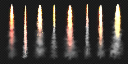 Realistic space rocket launch trails. Fire burst, explosion. Missile or bullet trail. Jet aircraft tracks. Smoke clouds, fog. Steam flow. Vector illustration. 矢量图像