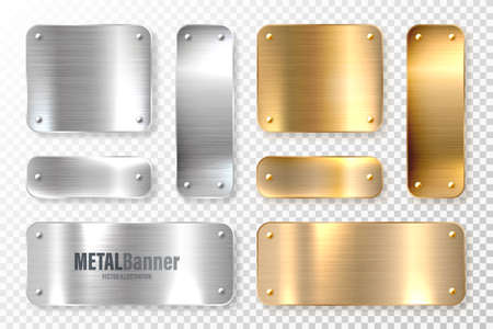 Realistic shiny metal banners set. Brushed steel and copper plate. Polished silver metal surface. Vector illustration. 矢量图像