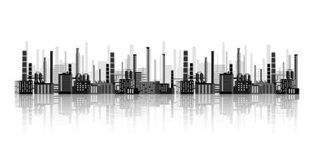 Urbanization, industrial background. Pipeline. Air pollution. Oil and gas fuel. Vector illustration.