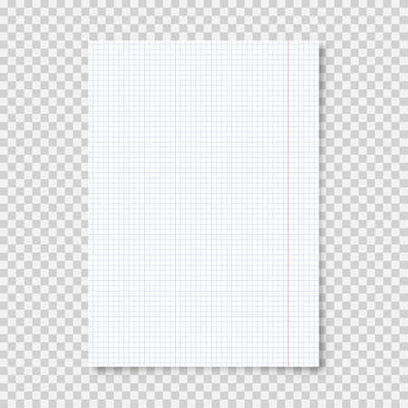 Realistic blank lined paper sheet in A4 format on transparent background. Notebook page, document. Design template or mockup. Vector illustration.