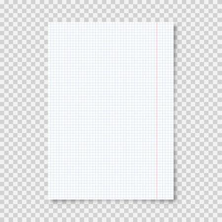 Realistic blank lined paper sheet in A4 format on transparent background. Notebook page, document. Design template or mockup. Vector illustration. Векторная Иллюстрация