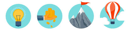 Flat style business concept background. Money making, success and goals achievement. Smart solutions. Gold coins stack. New ideas. Hot air balloon and mountain peak. Vector illustration.