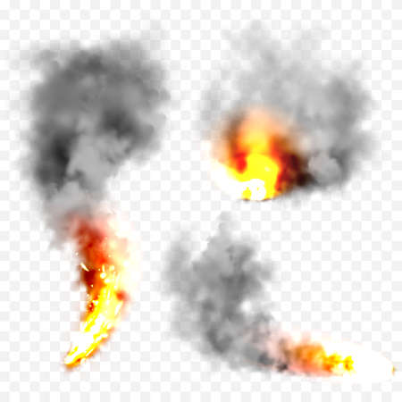 Realistic black smoke clouds and fire. Flame blast, explosion. Stream of smoke from burning objects. Forest fires. Transparent fog effect. Vector design element.