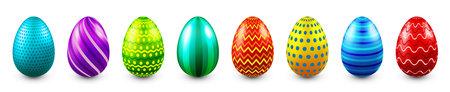 Colorful Easter eggs isolated on white background. Seasonal spring decoration element. Egg hunt game. Vector illustration.