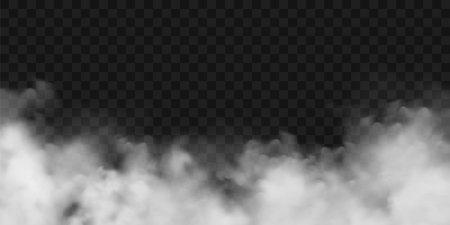 Realistic fog, mist effect. Smoke on dark background. Vector vapor in air, steam flow. Clouds. Stock Illustratie