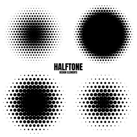 Circle halftone design elements with black dots isolated on white background. Comic dotted pattern.Vector illustration. Vektorové ilustrace