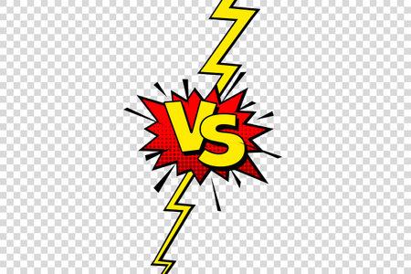 Comic challenge background. Cartoon battle, fight border. Versus or vs frame with lightning. Sports team competition poster. Vector illustration. Stock Illustratie