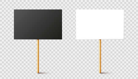 Blank black and white protest signs with wooden holder. Realistic vector demonstration banner. Strike action cardboard placard mockup.