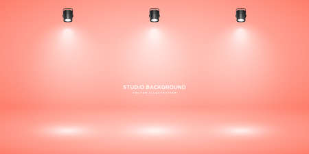 Empty pastel peach studio abstract background with spotlight effect. Product showcase backdrop. Stage lighting. Vector illustration.