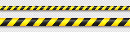 Realistic yellow barricade tape. Police warning line. Danger or hazard stripe. Under construction sign. Vector illustration. Stock Illustratie