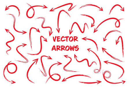 Red grunge hand drawn arrows isolated on white background. Doodle arrow, zigzag and round pointers. Handmade sketches of direction symbols. Vector illustration.